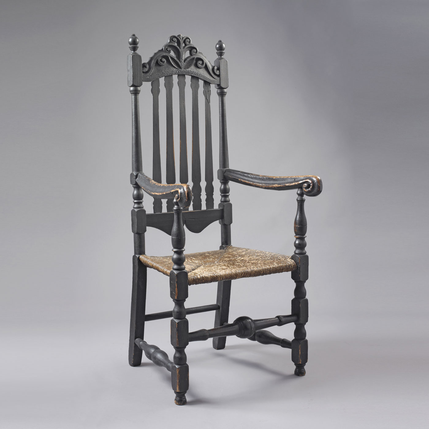 William And Mary Bannister Back Arm Chair Jeffrey Tillou