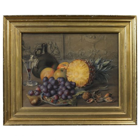 Still Life of a Pineapple, Grapes, Apples and Nuts Arranged on a Table Top