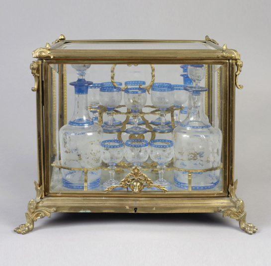 Gilt Bronze & Bavarian Glass Cased Decanter and Cordial Set