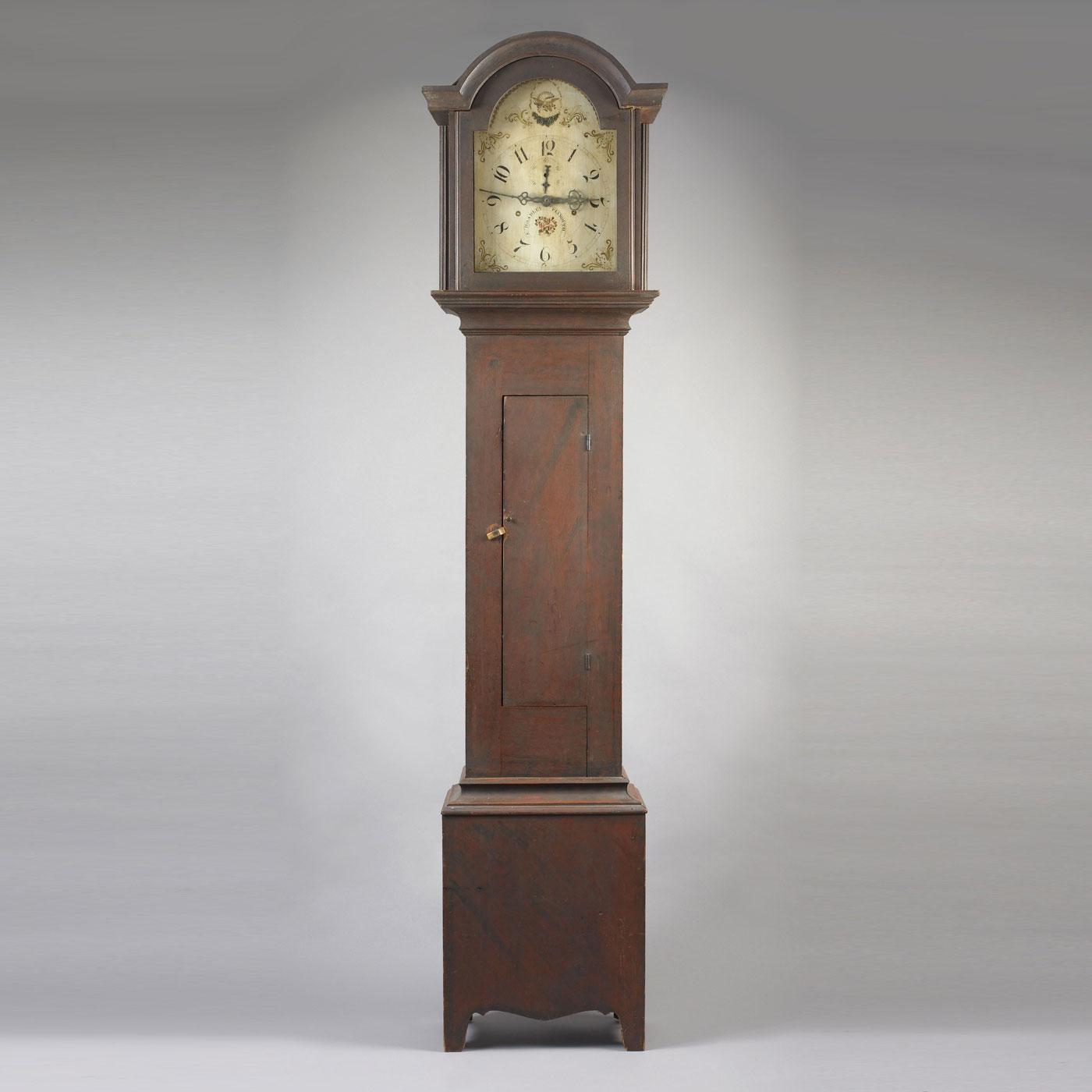 Paint Decorated Tall Case Clock Jeffrey Tillou Antiques