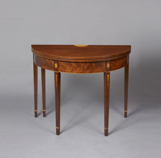 hepplewhite demi lune card table jeffrey tillou antiques. Black Bedroom Furniture Sets. Home Design Ideas