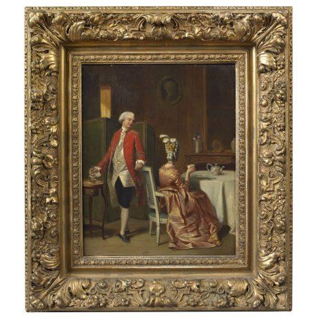Gentleman Observing a Lady Drinking Tea In an Elegant Interior