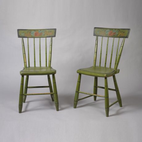 Apple Green Paint Plank Seat Chairs