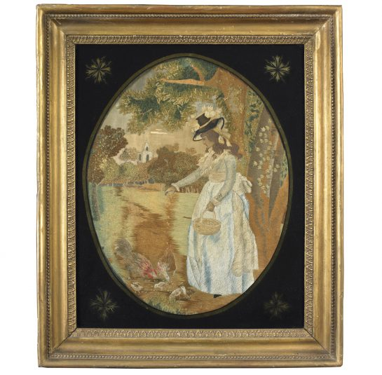 Needlework Depicting a Woman Feeding the Chickens