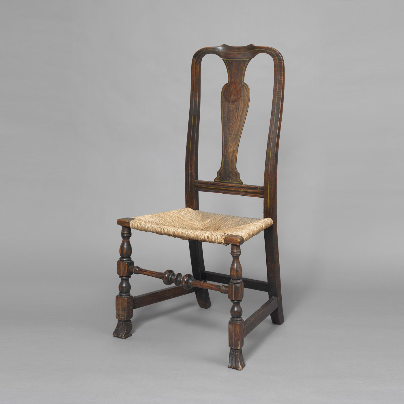 Early Queen Anne Grain Painted Spanish Foot Side Chair • Jeffrey