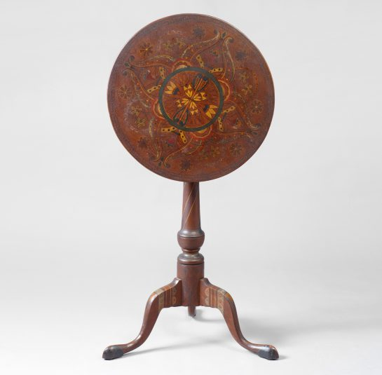 Rare and Unique Paint Decorated Tilt-top Candlestand
