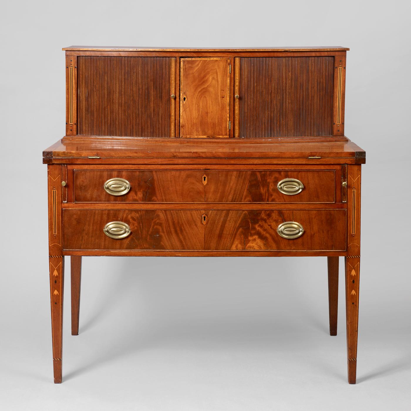 Hepplewhite Inlaid Tambour Desk - Hepplewhite Inlaid Tambour Desk • Jeffrey Tillou Antiques