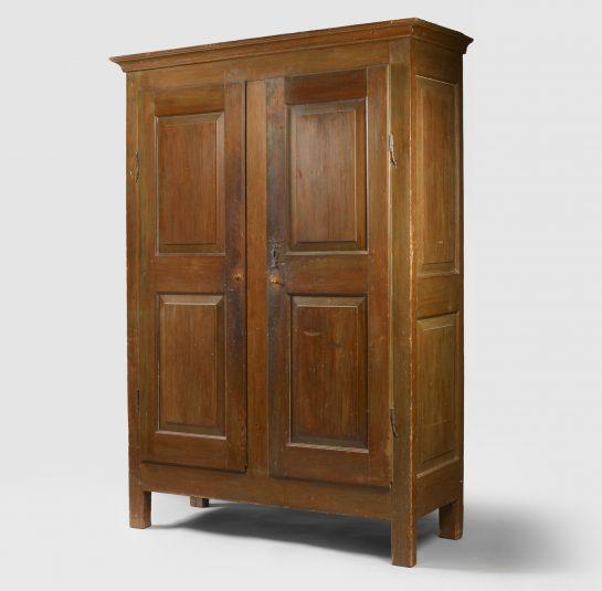 Rare Raised-Panel Two-Door Painted Cupboard