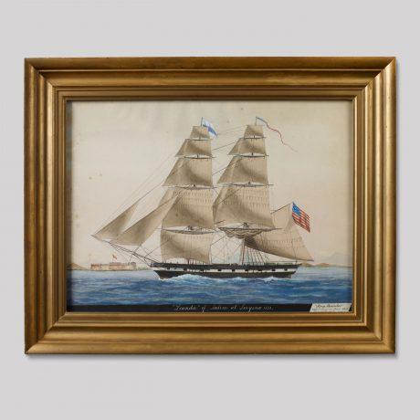 """Ship """"Leander"""" of Salem at Smyrna. 1831"""