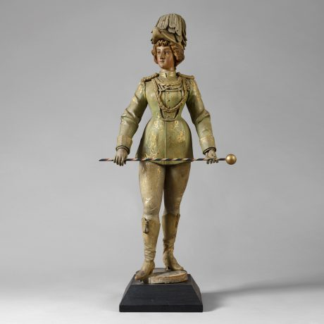 Carved and Painted Band Organ Figure of a Young Woman Dressed in a Parade Unifo
