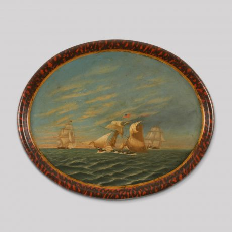Painted Tray of a Battle Scene