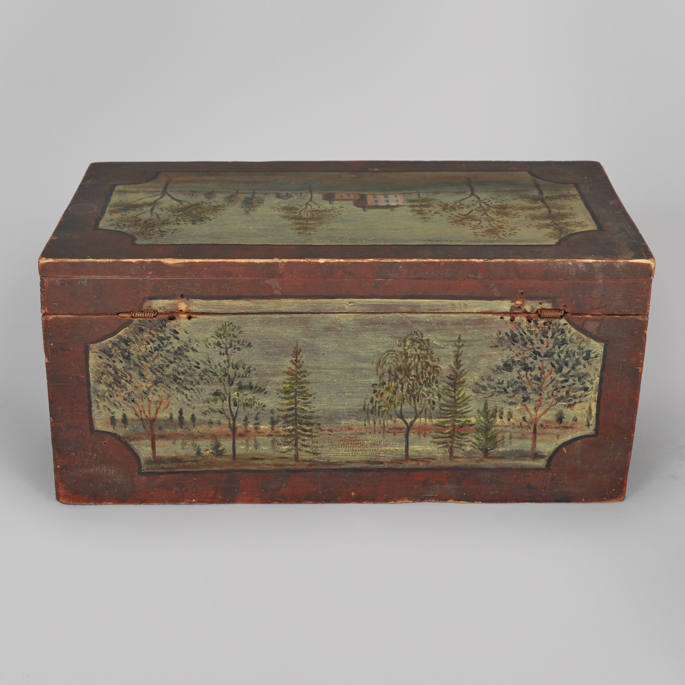 Small Paint Decorated Wood Box With Key Jeffrey Tillou