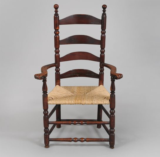 Rare Queen Anne Ladder-Back Carved Knuckle Arm Chair