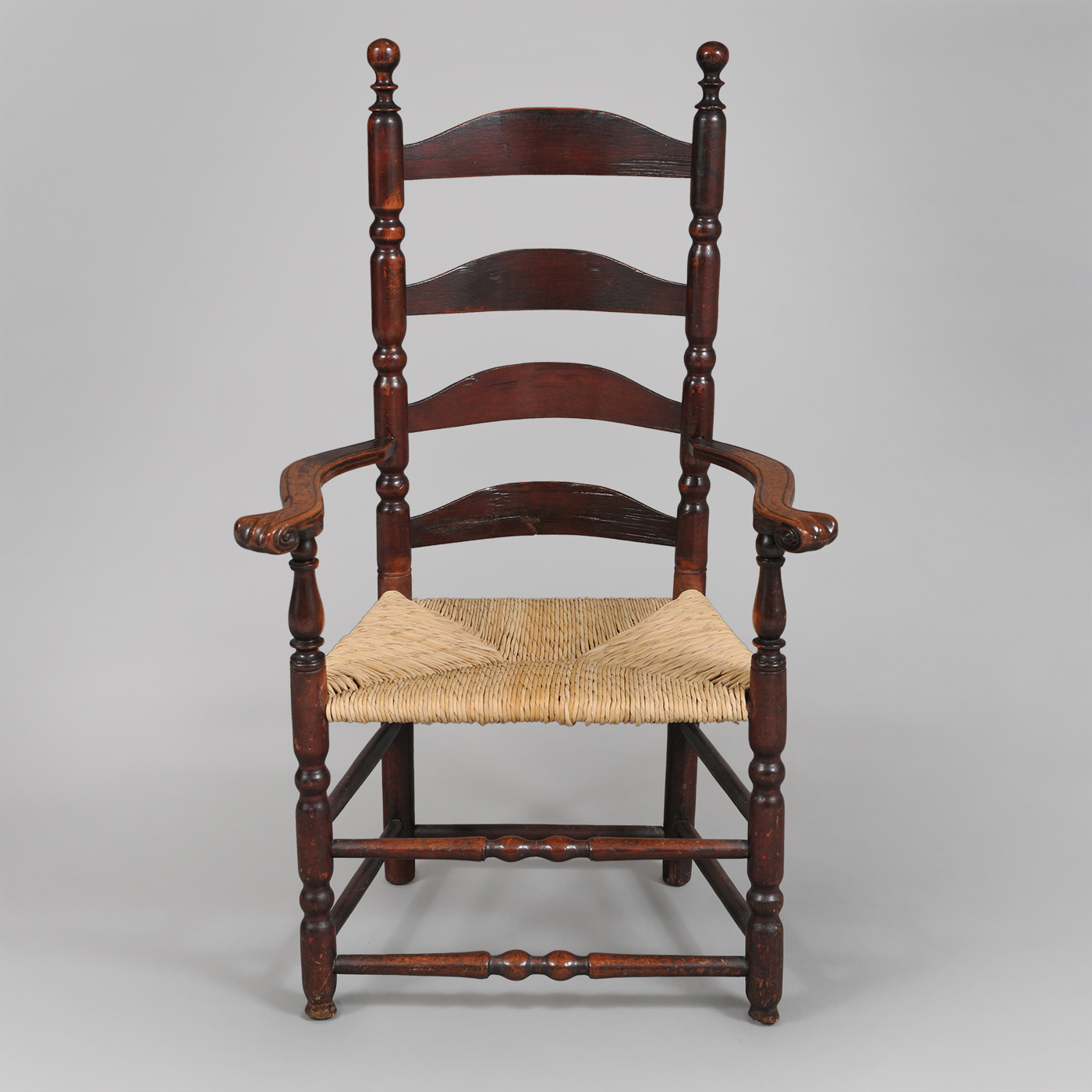 Stupendous Rare Queen Anne Ladder Back Carved Knuckle Arm Chair Gamerscity Chair Design For Home Gamerscityorg