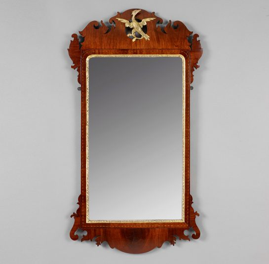 Exceptional Transitional Chippendale Parcel-Gilt Mirror with Carved Phoenix
