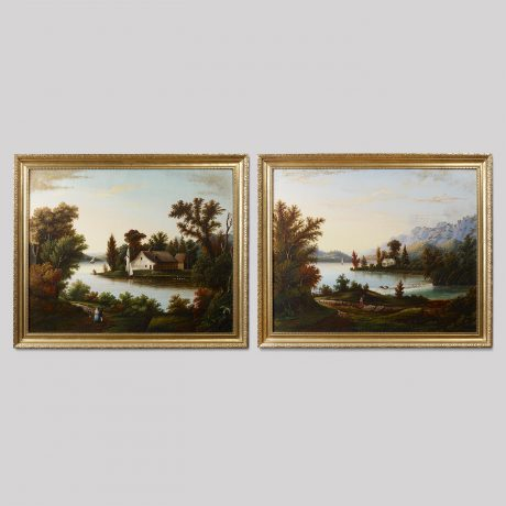 Pair of Landscape Paintings Depicting a View of a Lake with Sailboats, Figures a
