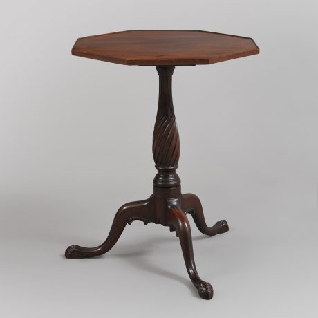 Rare and Important Octagonal Top Carved Candlestand