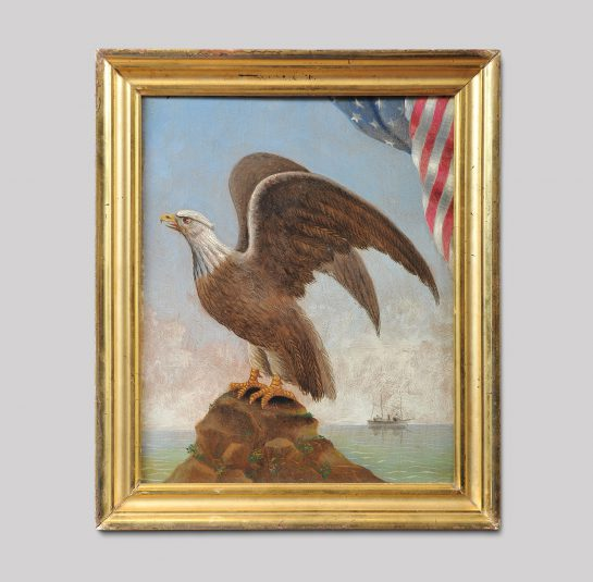 Patriotic Eagle Perched on a Rock with Outstretched Wings