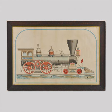 "A Rare and Important Large-Scale Drawing of the ""Onward , Locomotive Engine"", ma"