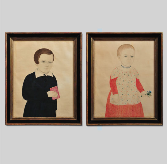 Rare Pair of Portraits of a Boy Holding a Red Book and a Girl Holding a Bouquet of Flowers